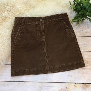 J. Crew | olive brown corduroy mini skirt 6